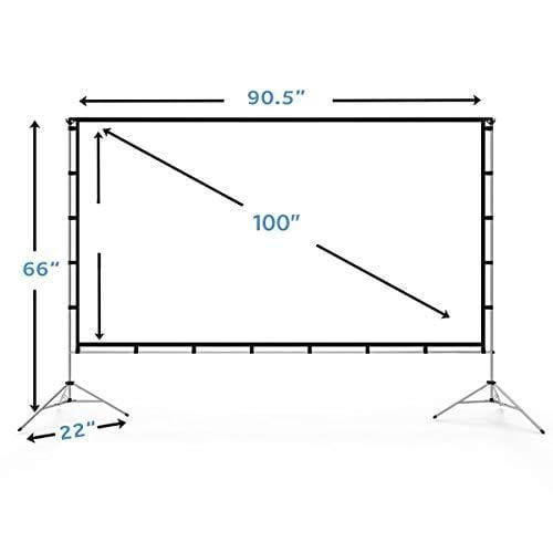 vamvo ecrans de projection 100 pouces support pliable ecran porta