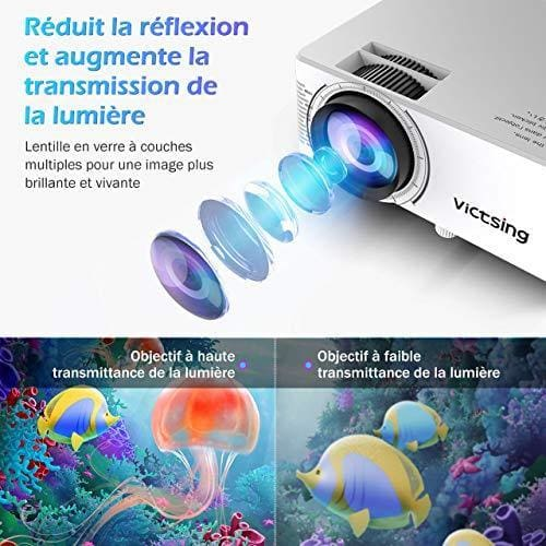 victsing videoprojecteur 1080p supporte projecteur portable 4000 lux