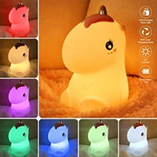 zerproc veilleuse bebe lumiere led portable en silicone licorne 7 co