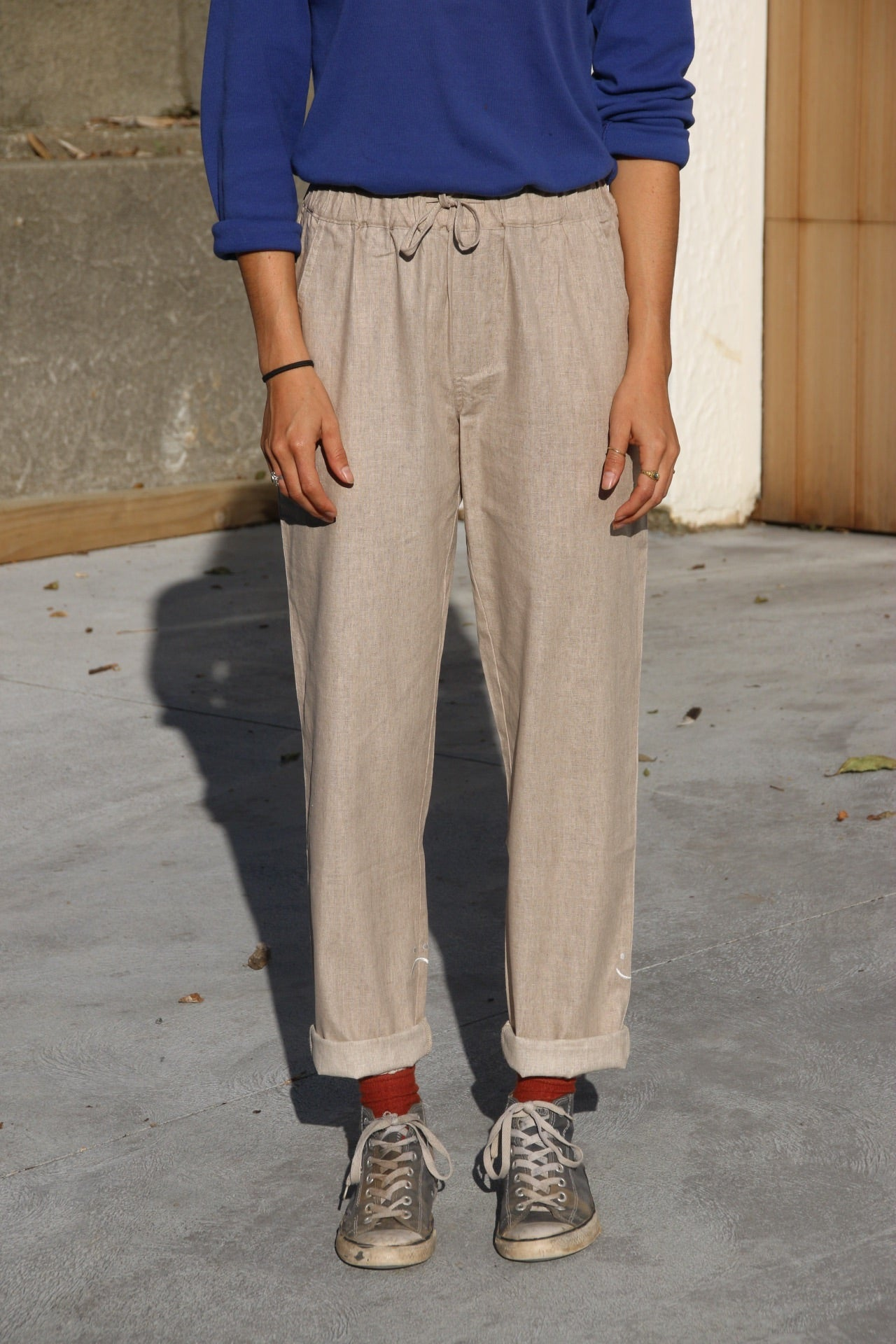 Happily Sad Linen Pants - Beige