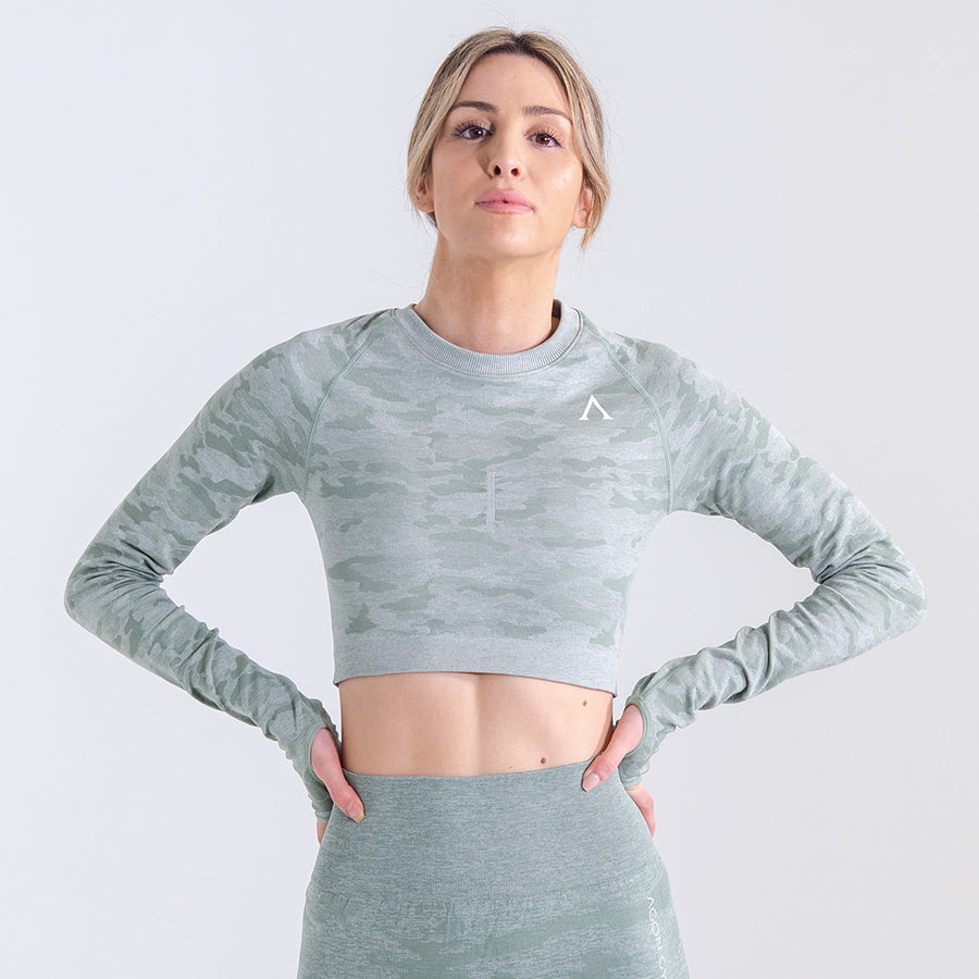 ARMY FORCE LONG TOP - GREEN/GREY