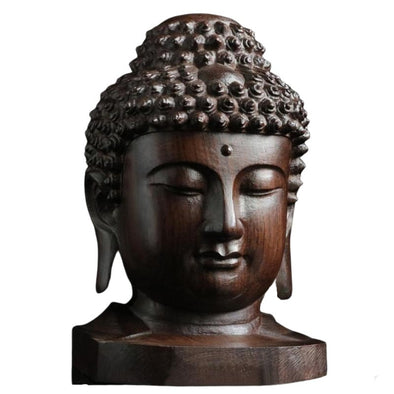 Wooden Buddha Head Statue