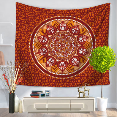 Brown Floral Mandala Tapestry