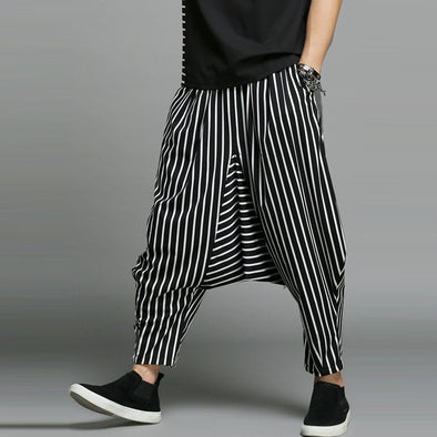 Black & White Stripes Harem Pants