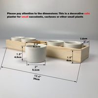 "2.4"" Mini Glazed Ceramic Succulent Cactus Planter Pot Set of 5 with Drainage Hole 5 Grids Rectangle Wood Tray White Indoor Windowsill Window Sill Herbs Container Holder Box Plant Bonsai Wedding Decor"