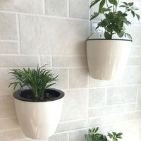 Hanging Planter Pots Self Watering Vertical Garden Wall Mount Window Hang Round Plastic Container Indoor Outdoor for Plants Flowers Succulent Kitchen Living Herbs Holder Decor Decoration White-Free Shipping