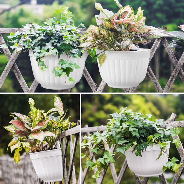 Resin Wall Hanging Planter Pots Vertical Garden Living Wall Mount Window Hang Box Container Indoor Outdoor for Plants Flowers Kitchen Herbs Holder with Drainage Water Reservoir Décor White-Free Shipping