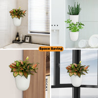 Corner Wall Mounted Hanging Planter Self Watering Triangle Plastic Flower Pot Decorative Modern Plant Vase Container Holder for Succulent Cactus Indoor Outdoor Home Office Décor African Violet White-Free Shipping