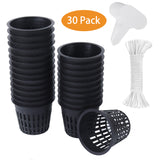 3 Inch Net Cup Pots Wide Lip Rim with Self Watering Wick & Plant Labels for Hydroponic Aquaponics System Mason Jar Bucket Box Container Garden Setup Orchid Vegetable Gardening Growing Baskets-Free Shipping