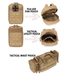 Tactical Backpack with 3 detachable pouches 55 Liters