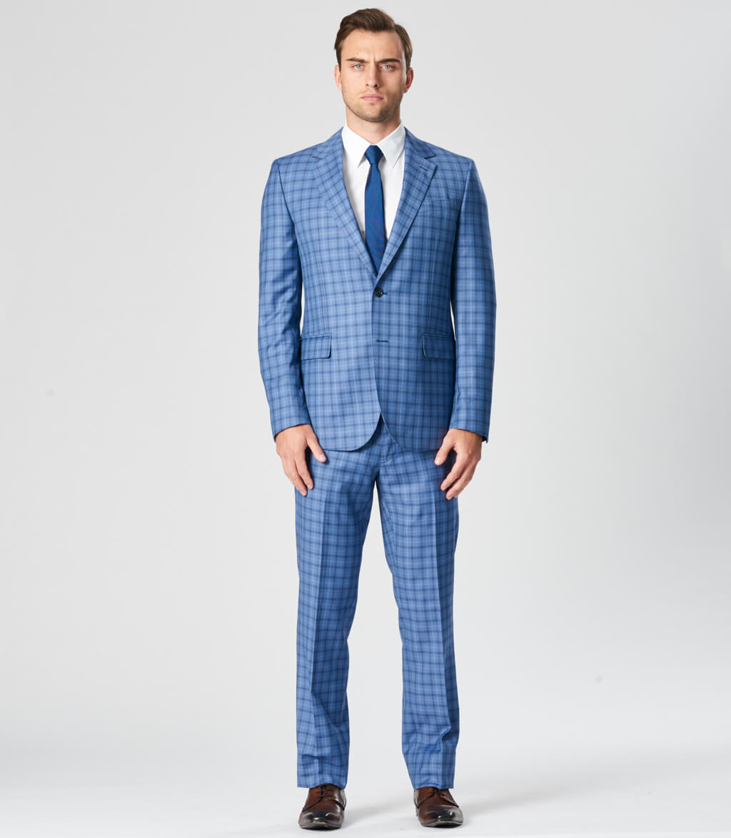 Double Check Tailored Fit Wool Suit