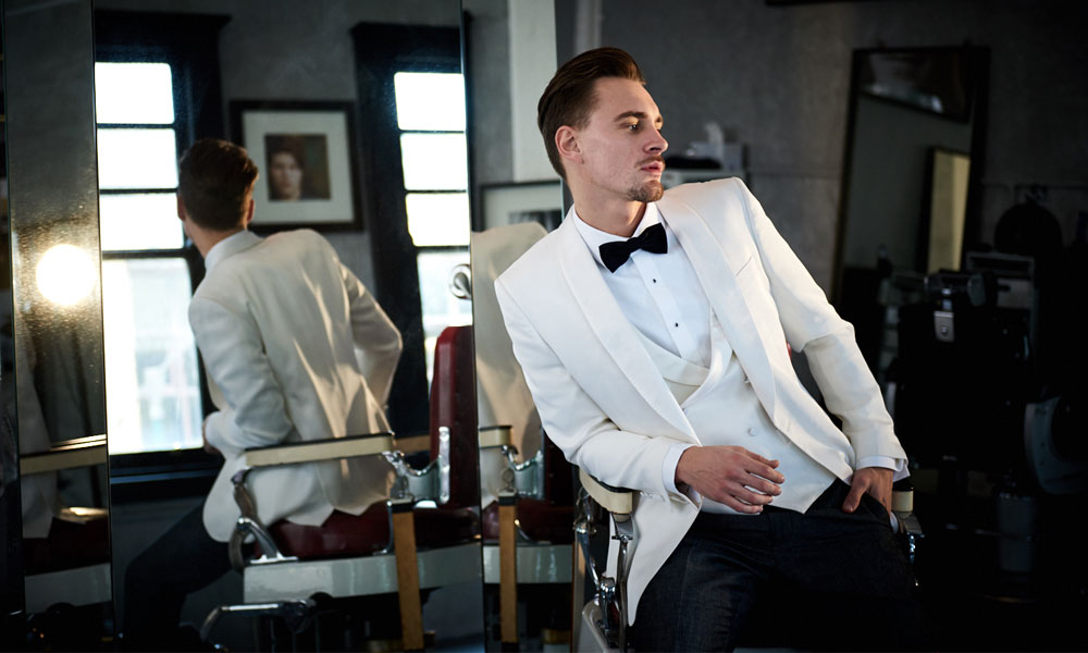 Antoni Topic wears Calibre Ivory Shawl Dinner Jacket and Vest