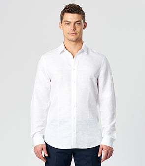 Calibre Men's White Linen Shirt