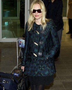 Kate Moss sporting a lovely patterned Duffle Coat