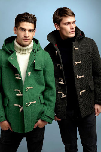 green boiled wool duffle coat