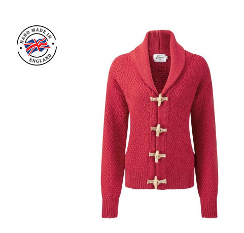 ladies cherry red toggle cardigan