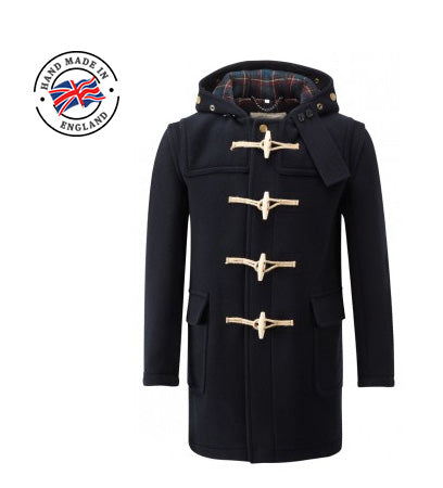 mens navy blue duffle coat wooden toggles uk