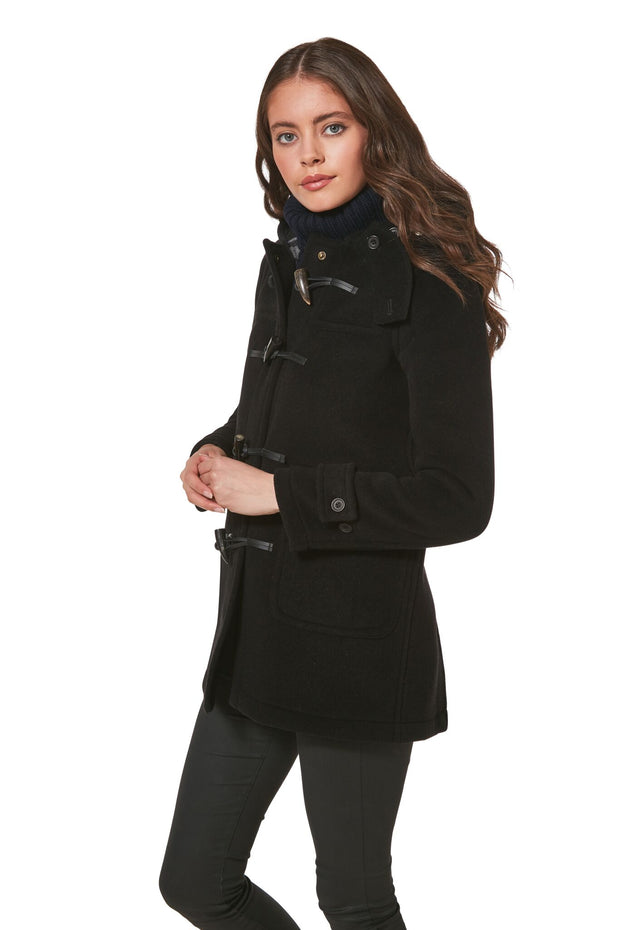ELEGANCE WITH HORN TOGGLES DUFFLE COAT FOR WOMEN