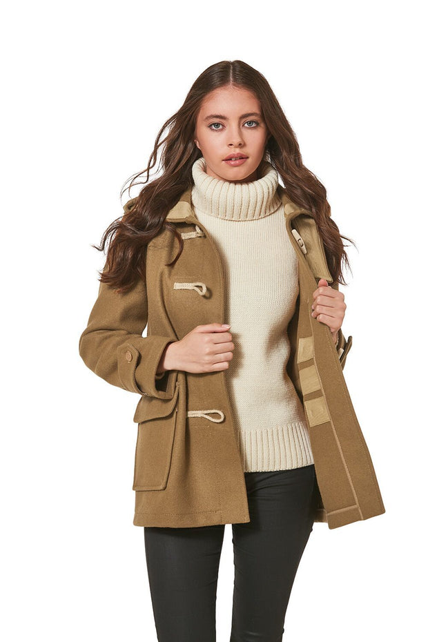 Women's Super Slim Haji Duffle Coat in Melton Wool