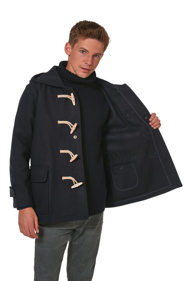 Men's Super Slim Gion Duffle Coat in Melton Wool