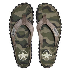 Gumbies CANVAS Flip Flops - Green Camo