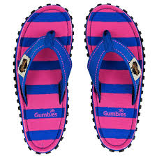 Gumbies CANVAS Flip Flops - Pink/Blue Stripe