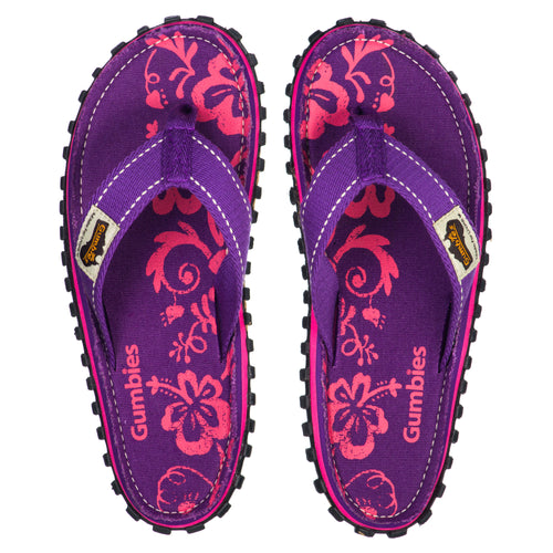 Gumbies CANVAS Flip Flops - Purple Hibiscus