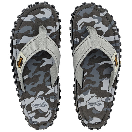 Gumbies CANVAS Flip Flops - Womens - Grey Camo