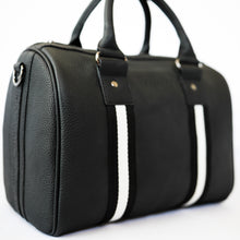 Load image into Gallery viewer, Black premium leather sports bag with black and white leather trim webbing. Gunmetal black hardware.