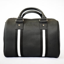 Load image into Gallery viewer, Black leather compact sports bag with black and white webbing  trim. Gunmetal black hardware.