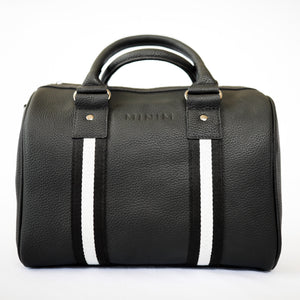 Black leather compact sports bag with black and white webbing  trim. Gunmetal black hardware.