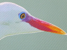 Detail of Egret portrait by Judy Link Cuddehe of Found Link Press.