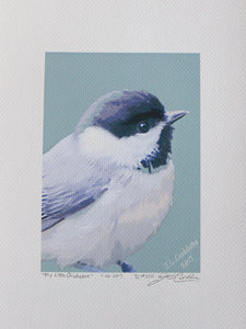 Carolina Chickadee puffed up against the cold, painting on coldpress paper by Judy Link Cuddehe for Found Link Press.