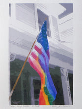 "Rainbow merged with American Flag Painting on coldpress of LGBTQ acceptance by Judy Link Cuddehe, entitled ""So you always know where we stand."""