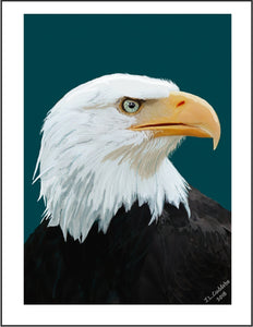 Eagle Looking Ahead Poster by Judy Link Cuddehe for Found Link Press, 2018.