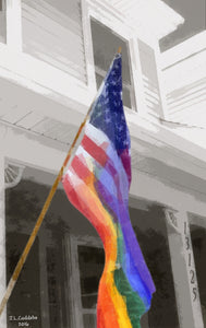 "Rainbow merged with American Flag Print of LGBTQ acceptance by Judy Link Cuddehe, entitled ""So you always know where we stand."""