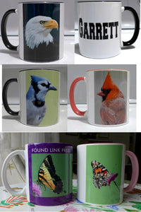 Personalized mugs, coffee cups, with your choice of Found Link Press art by Judy Link Cuddehe. Bird coffee mugs and cups. Butterfly coffee mugs and cups.