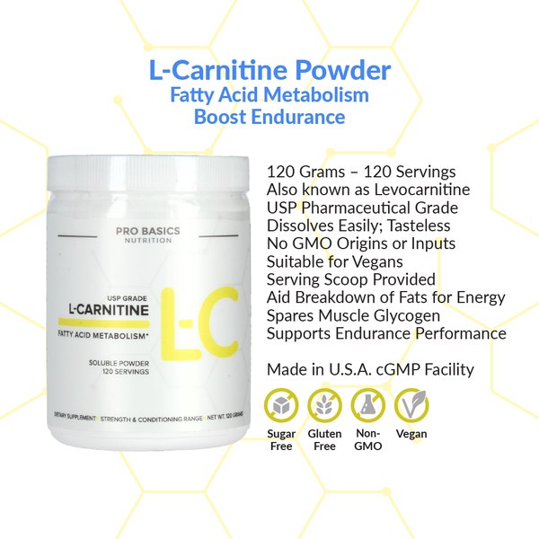 Pro Basics Nutrition - L-Carnitine, Free-Form Amino Acid Product Details