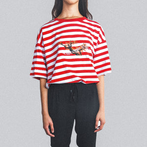 STRIPED TEE RED