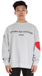 LOVERS DIE YOUNGER CREWNECK LIGHT GREY