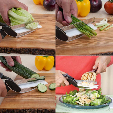 Clever Cutter 2 In 1 Cutting Board And Knife Scissors - veryswank