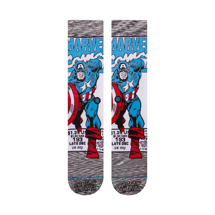 Stance Marvel Socks Captain America Comic Grey