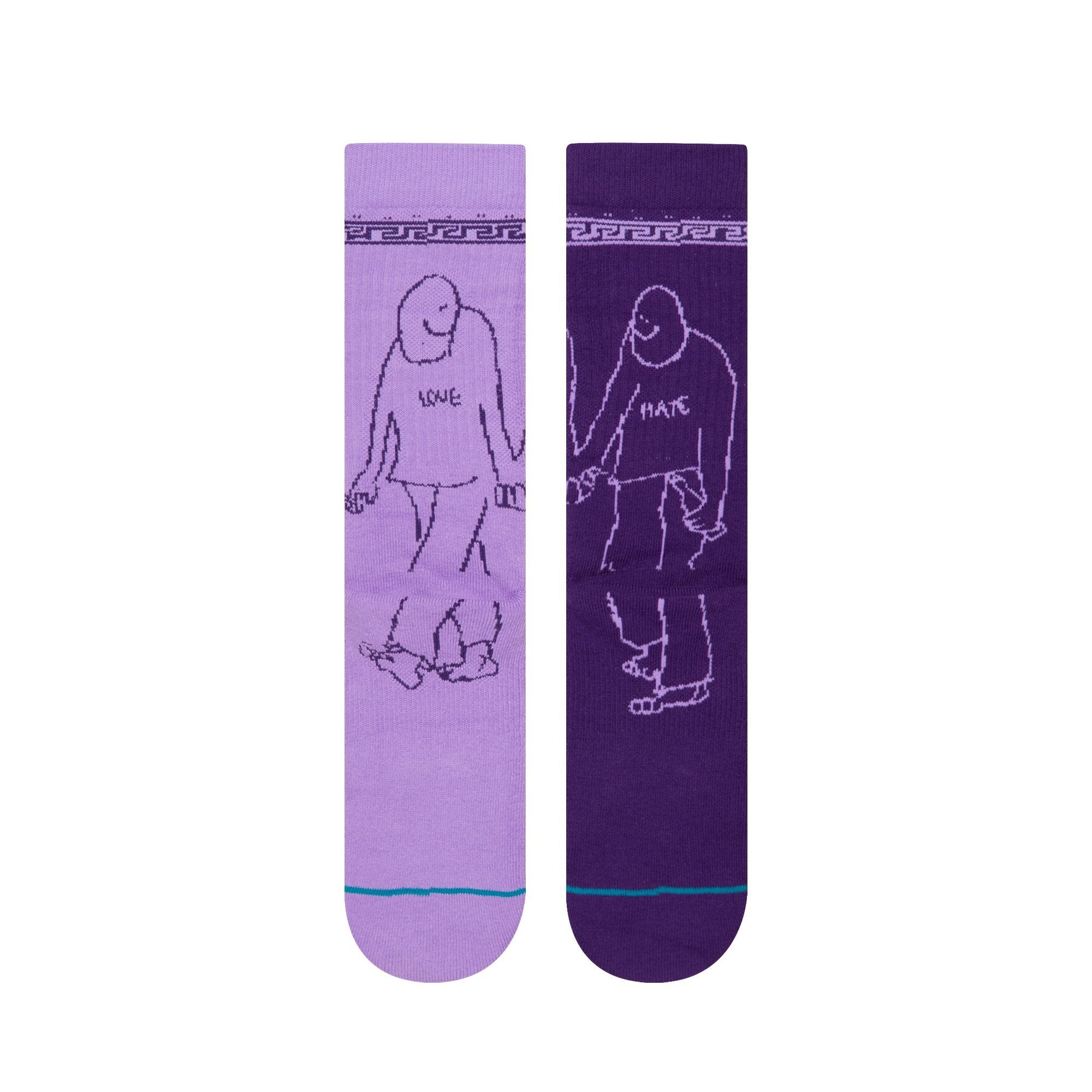Stance Love Hate Crew Socks in Purple