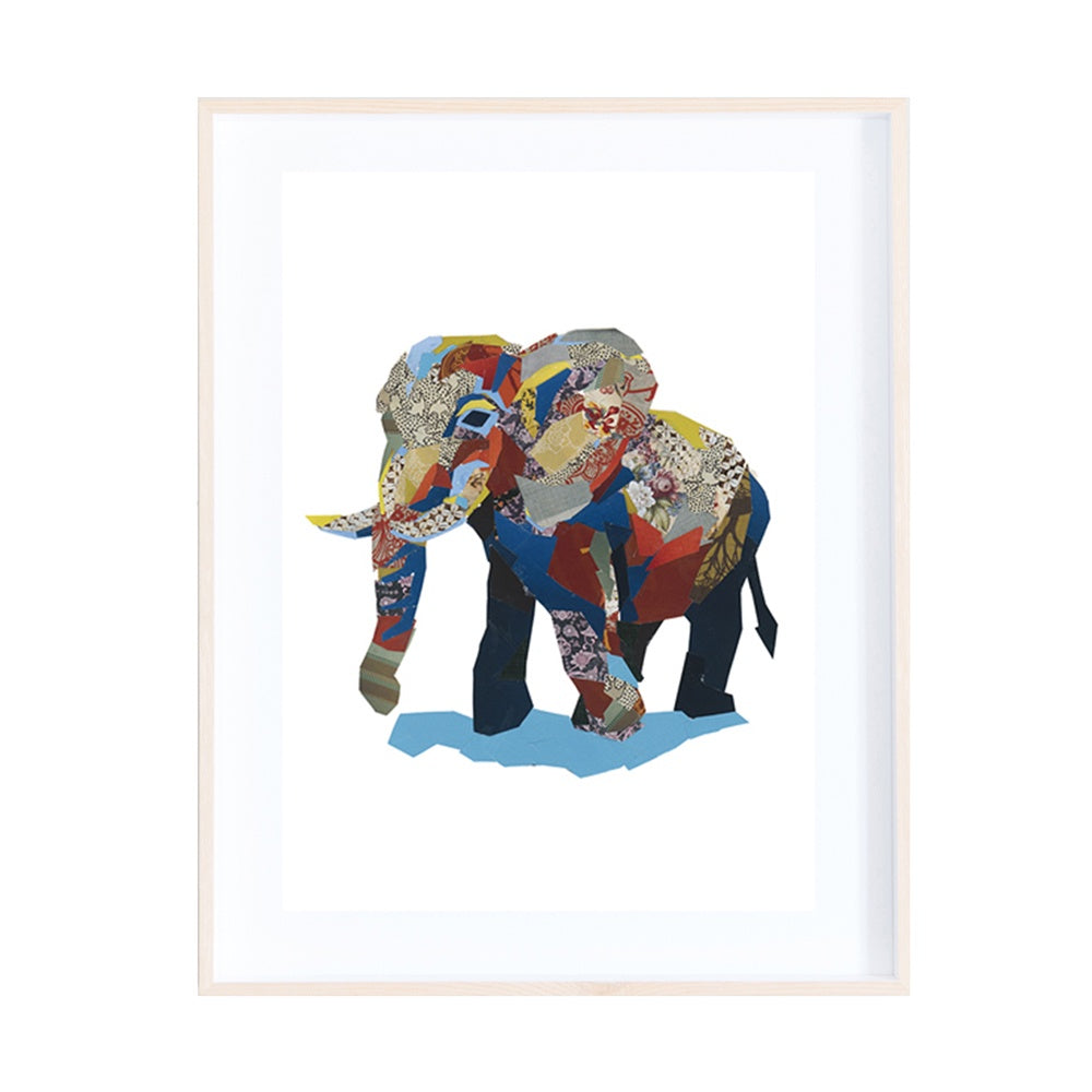 African Elephant Collage Print