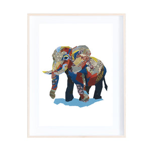 African Elephant Collage Print by Zoe Mafham