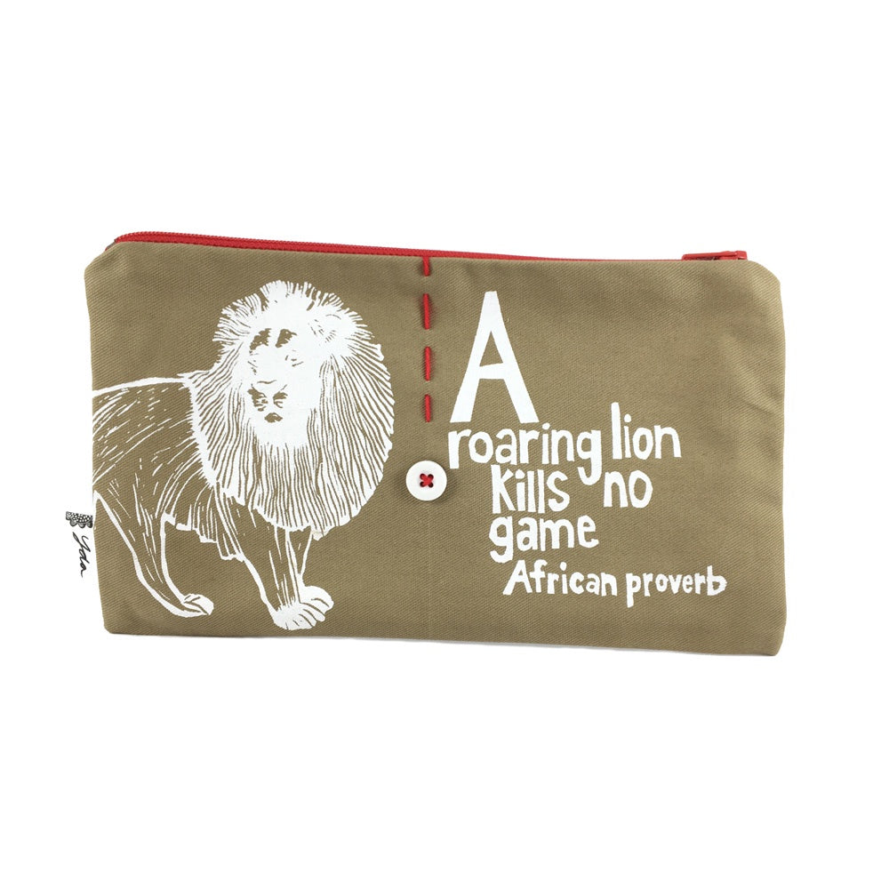 African Proverb Purse - Lion