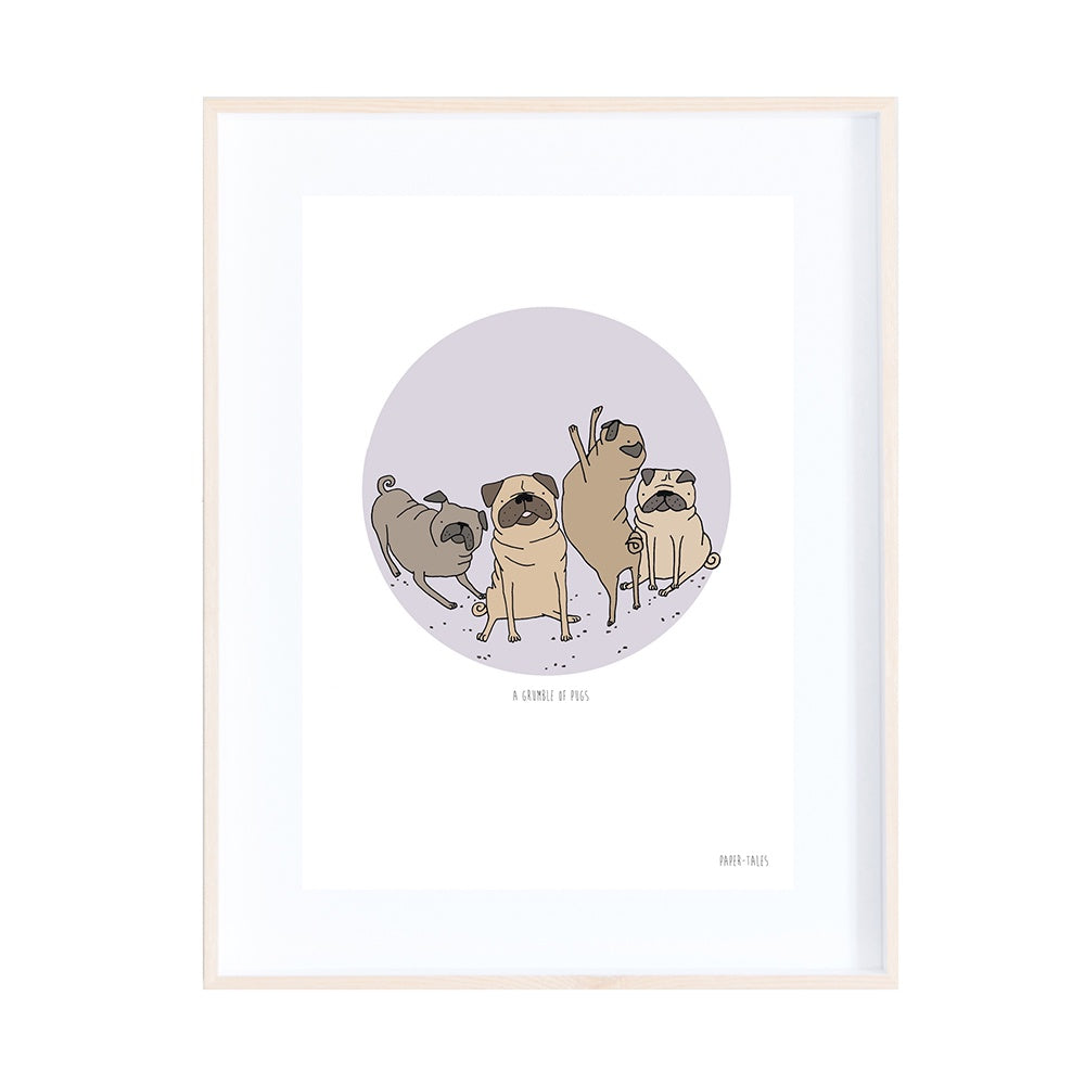 A Grumble of Pugs Print