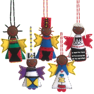 African Angel Felt Decoration (5-pack)