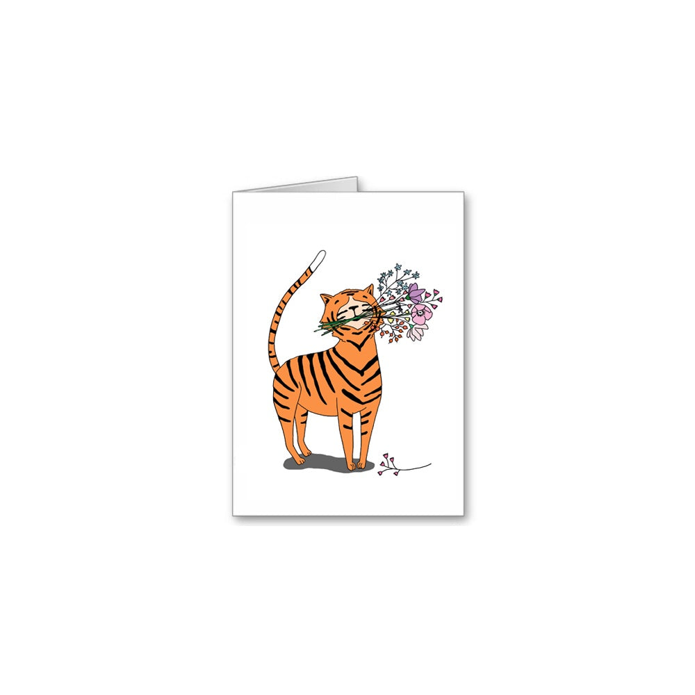 Tiger Flowers Greeting Card