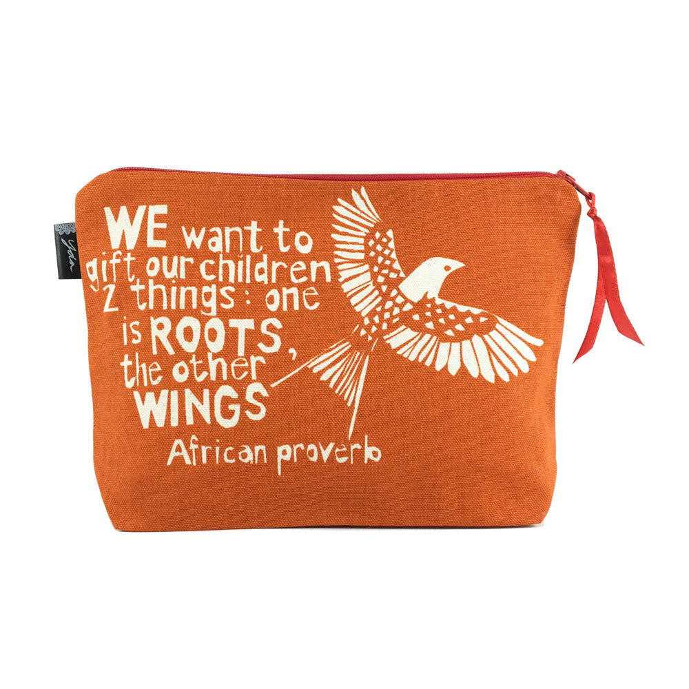 African Proverb Pouch - Roots